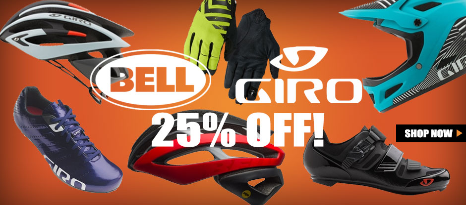 25% off select Bell & Giro Helmets and Footwear | 25% off Blackburn & Co-Pilot Child Carriers