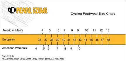 Pearl Izumi Mountain Bike Shoe Size Chart